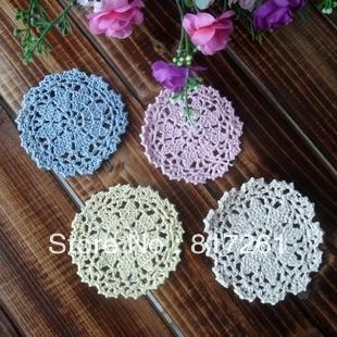 Free shipping beautiful 4 colors 20 pics 10 cm round flower coffee cup mat crochet heat pad table coaster placemat doily