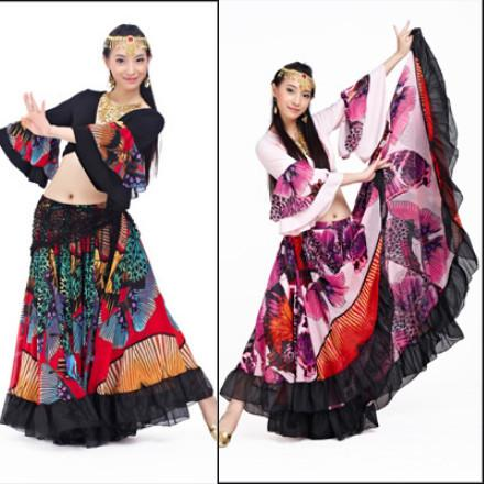 best selling Wholesale-720 Degree Printed BellyDance Tribal Maxi Belly Dance Gypsy Costume Clothes Women Long Gypsy Skirts