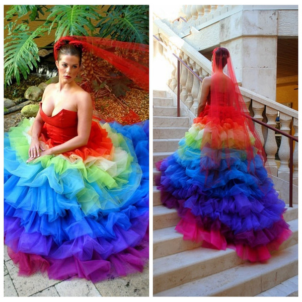 2018 Vintage Ball Gown Colorful Wedding Dresses Tiered Bridal Gowns ...