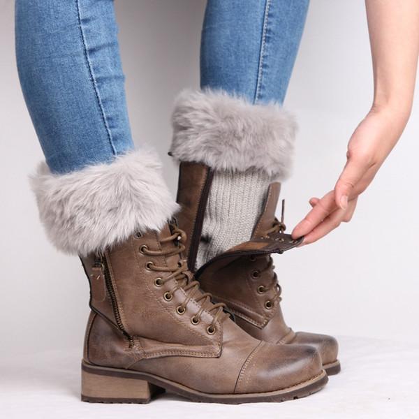 Großhandel Mode Pelz Bein Wärmer Frauen Häkeln Gestrickte Stiefel ...