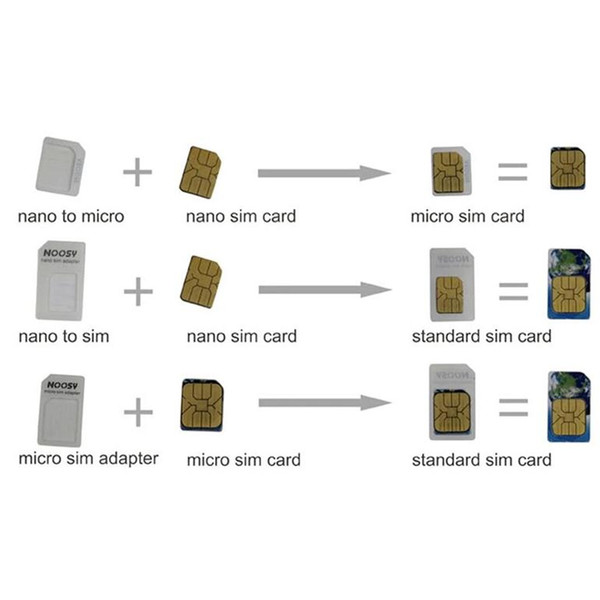 Wholesale-100sets(400pcs) 4 In 1 Noosy Nano Micro SIM Card Adapter Eject Pin For  5 5S For  6 6plus with Retail Box