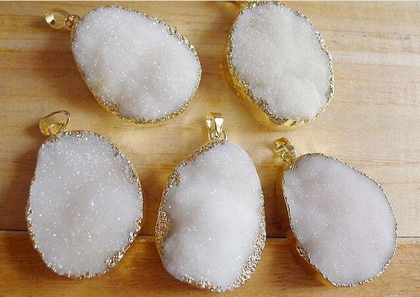 10pcs Pure White color Druzy Crystal Pendant Gold Gem stone Drusy Quartz Pendants Free shipping