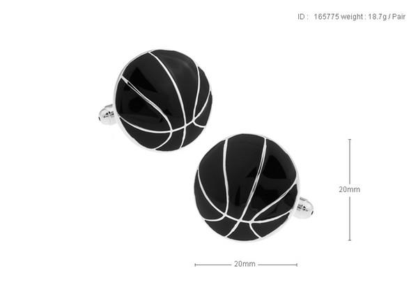 Yüksek Kalite Yeni Klasik Gümüş Bakır Erkek Düğün Kol Düğmeleri Yenilik Nadir Fantezi Siyah Basketbol Temiz Bez 165775