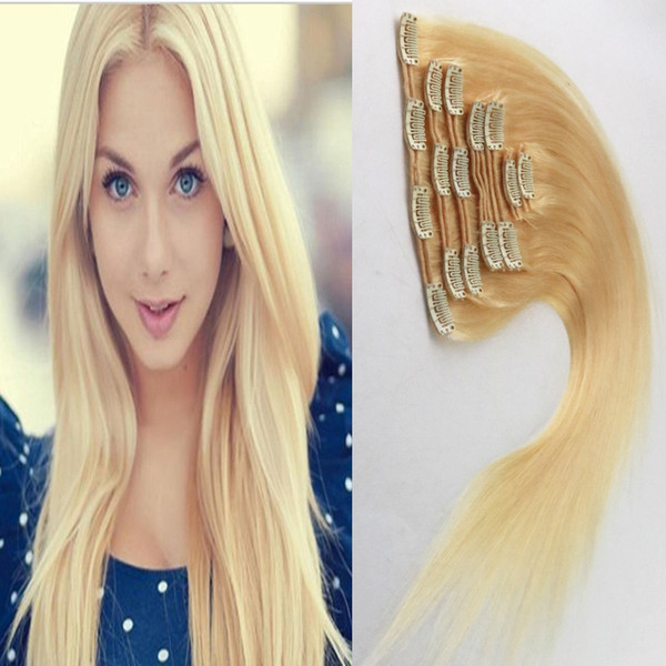 613 Bleach Blonde hair virgin thick clip in hair extension 100g 7pcs/Lot Straight african american clip in human hair extensions