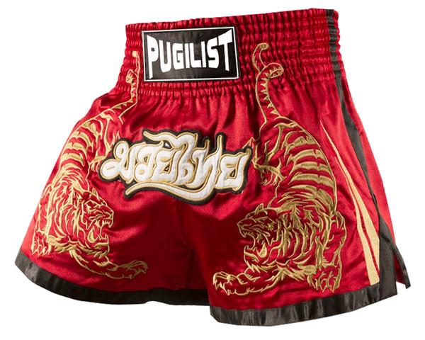 best selling Quality goods-PUGILIST Tiger MMA short HYBRID KICKBOXING MUAY THAI SHORTS FIGHT SHORTS Muay Thai Boxing shorts-Red