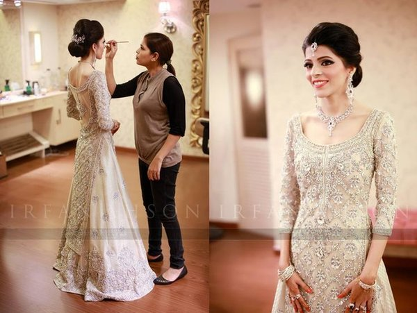 164f3480901 2016 Crystal Bead Sequins Scoop Neck A-Line Luxury India Wedding Dresses  Sheer Illusion Back Sexy bridal Gowns Plus Size 3 4 Long Sleeve