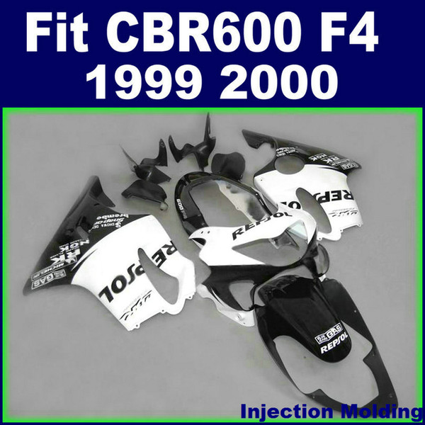 Injection molding high for HONDA body parts fairings CBR 600 F4 1999 2000 white black 99 00 cbr600 f4 custom fairings BLOS