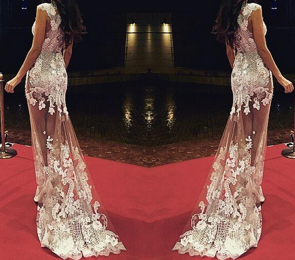 best selling Oscar Sheer Celebrity Dresses Mermaid See Through Long Little Train Scoop Cap Sleeve Prom Dress Red Carpet 2015 Sexy Evening Dress