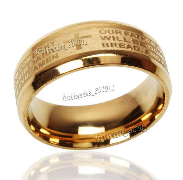 best selling Stainless Steel Etched ENGLISH Lord's Prayer Cross Wedding Gold Band Ring Size 6-14 New