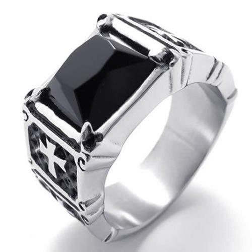 075050-vente en gros de lots de bijoux Bague Croix en acier inoxydable pour hommes, argent noir, achat direct auprès de la Chine, Bagues de mariage en tungstène