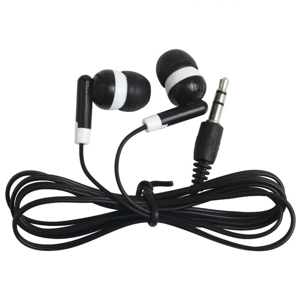 Universal Cheapest Disposable Black Colorful In-Ear Earbuds Earphone For IPhone 7 6 5 Headphones MP3 MP4 3.5mm Audio 100Pcs/Lot DHL Free