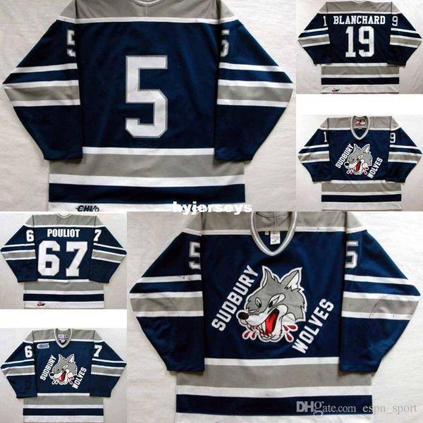 custom Customize OHL Sudbury Wolves Jersey Mens Womens Kids 5 Mike Wilson 19 Trevor Blanchard 67 Benoit Pouliot Hockey Jerseys Goalit Cut Ho