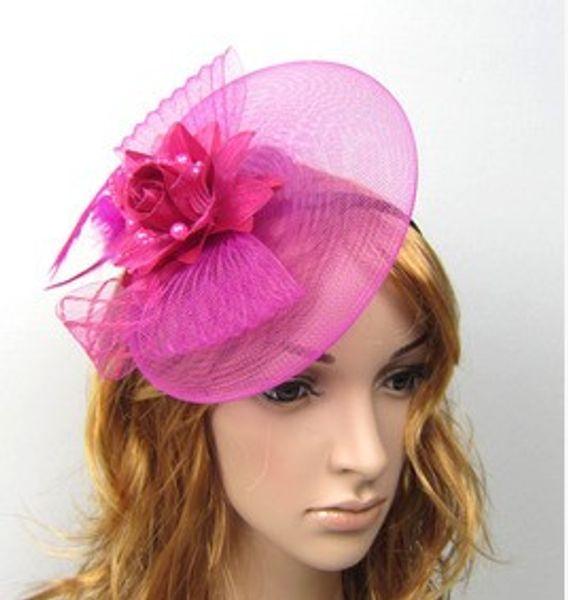 Meistverkauft! Hochzeits-Braut-Verzierungs-Damen-Partei-Haar-Zusätze Feder und Blume Fascinator-Hut mit schwarzem Stirnband 20pcs / lot B3609