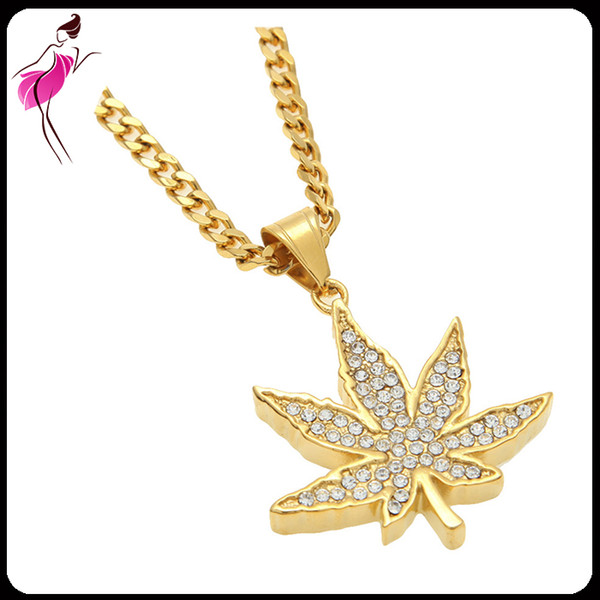 High Quality Gold Plated Big Maple Leaf Stainless Steel Pendant Necklace Jewelry Hot Sale Hip Hop Alloy Jewelry Necklaces (NL015G)