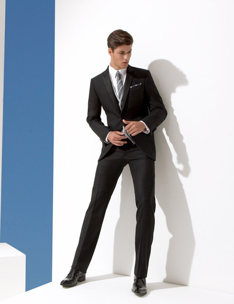 Smart Dark Grey Suit Mens Wedding Suits Peaked Lapel Mens Wedding ...