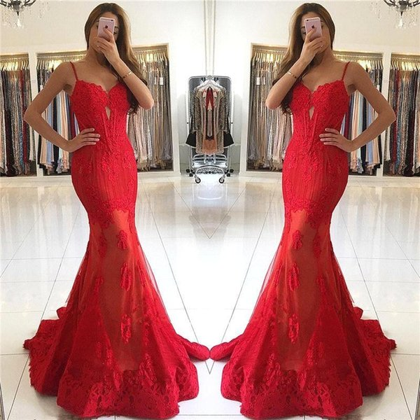 Evening Dresses 2017 Sexy Arabic Red Spaghetti Straps Full Lace Appliques Beads Keyhole Long Mermaid Formal Party Dress Plus Size Prom Gowns