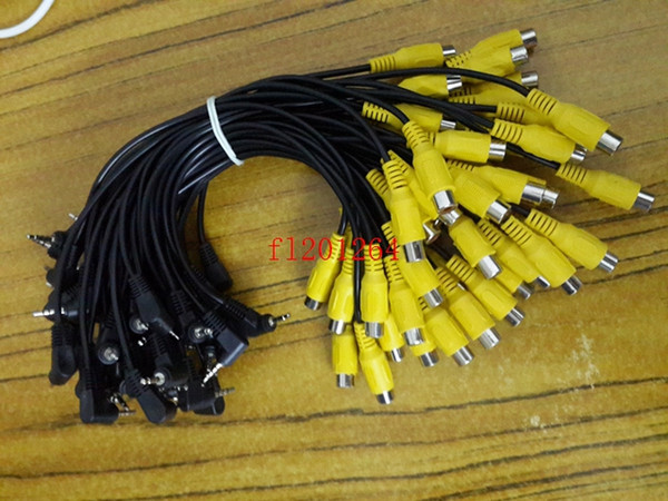 100pcs/lot DHL Free Shipping 2.5mm Male Plug to RCA Female Jack AV Adapter Cable Right Angle bend For GPS Video Input