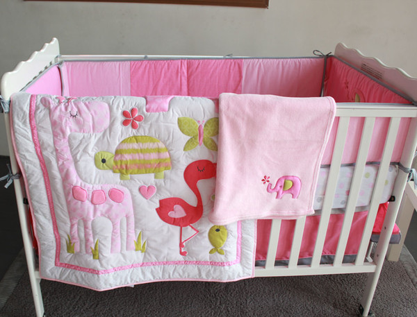 best selling Wholesale 2016 7Pcs pink Baby girls bedding set 100% cotton Embroidery home of flamingos Crib bedding set Quilt Bedskirt Bumper Cot bedding