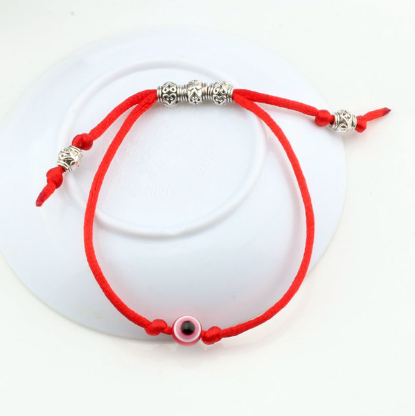 Hot ! 30pcs Adjustable kabbalah Red String Bracelet EVIL EYE Bead RED Protection Health Luck Happiness Men and women leather lucky bracelet