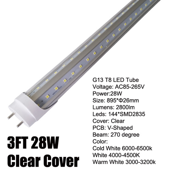 3Ft 28W V-Shaped Clear Cover