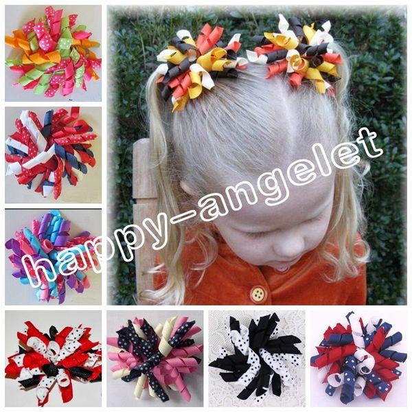 "100pcs Random baby 4"" hair ties M2M prints dot Curlies loop Ribbon Korker hair bows clips Girl/women Corker hair bobbles Accessories PD007"