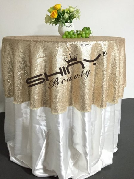 top popular FREE SHIPPING 48'' Round Champagne Sequin TableCloth,Wholesale Wedding Beautiful Champagne Sequin Table Cloth   Overlay  Cover 2020