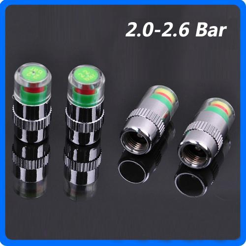 4PCS/Set Car Auto Pressure Monitor Accurate Display Tire Valve Stem Caps 2.0/2.2/2.4/2.6 Bar Sensor Indicator