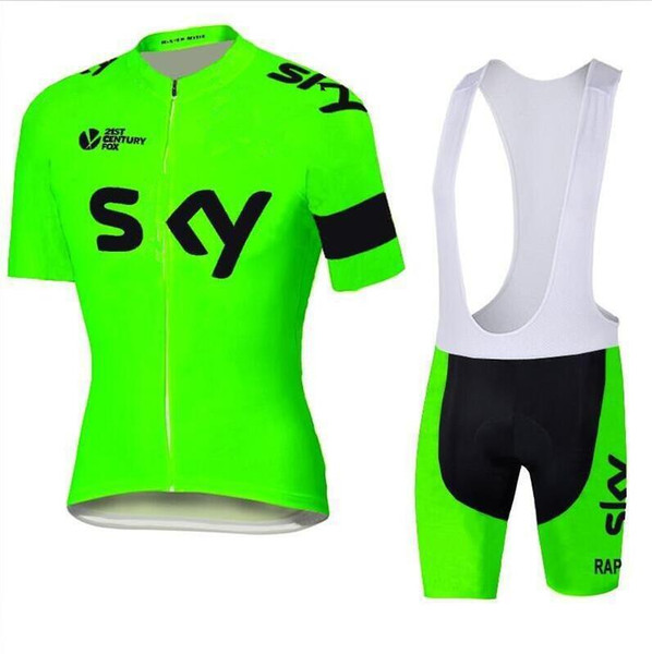 2019 Не Тур Де Франс команда SKY Велоспорт Джерси Флуоресцентный зеленый комплект Короткий Quick Dry Велосипед Одежда Мужчины Открытый Велоспорт комбинезон XS-4XL zeoutdoor