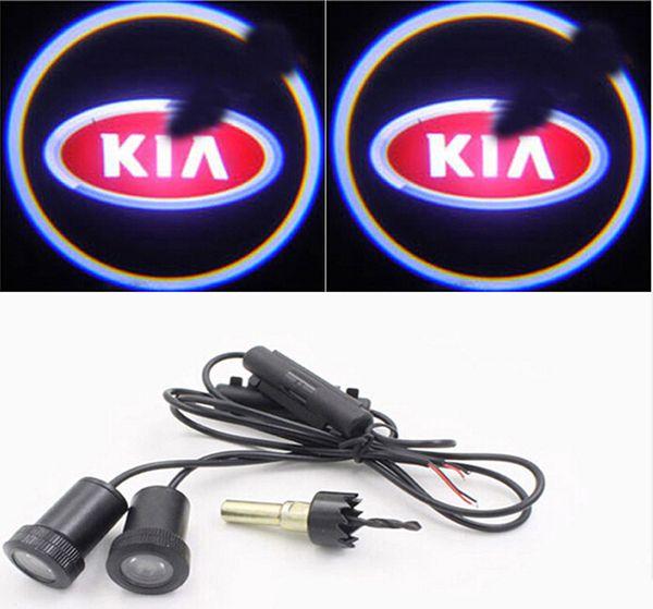 4pcs led Car Door Lights For Kia rio K2 k3 K5 Optima sorento Logo Led Car welcome Light Laser Projector Car Logo Shadow Light led