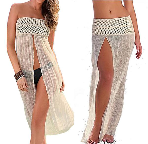 Sexy Women Swimwear Beach Smock Mesh Hollow Crochet Beach Dress Bikini Cover Up Swimwear Convertible Lace Beach Dress Sexy Beachwear White