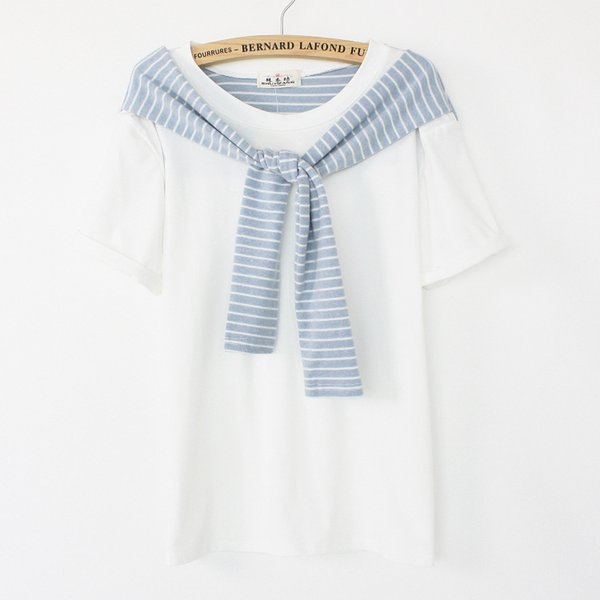 [Ada] Special design with striped shawl women short sleeve cotton t-shirt 2014 summer new tee free shipping