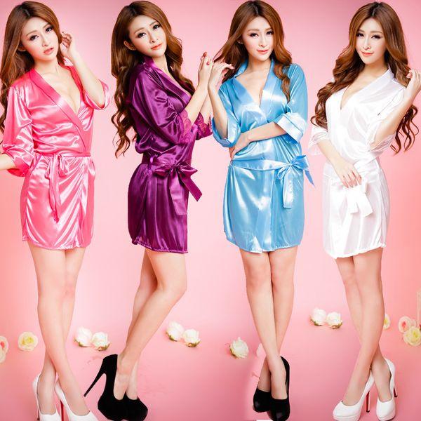 Laço de seda das mulheres sexy quimono roupão de banho roupão de banho lingerie pijamas nightwear