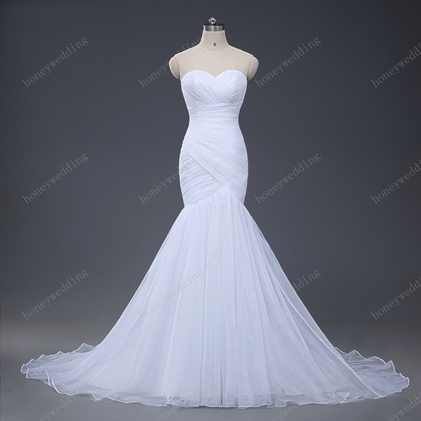 best selling Stock Sexy Mermaid Wedding Dresses 2017 Strapless Wedding Gowns Trumpet New Design White Ivory Tulle Bridal Gowns Hot Bride Dress
