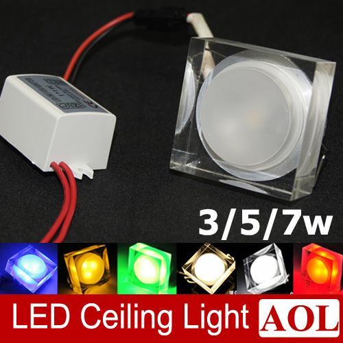 3W 5W 7W LED Cristal acrílico Luz de techo Cuadrado AC85-265V LED Downlights de pasillo 7 Emisión de color led de luz empotrada para iluminación de decoración