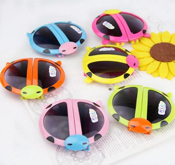 2017 Colors mix Sweet Kids sunglasses Cartoons Fold the beatles ladybird Baby children's UV400 Sun glasses