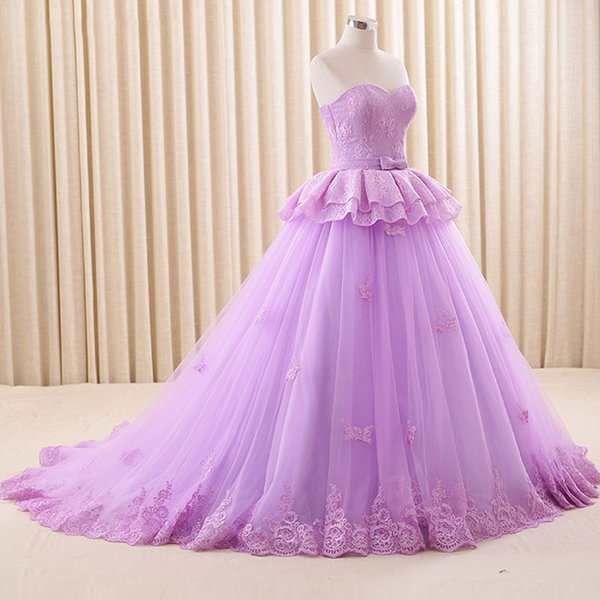 Stunning Light Purple Prom Dress Puffy Ball Gown Prom Dresses ...