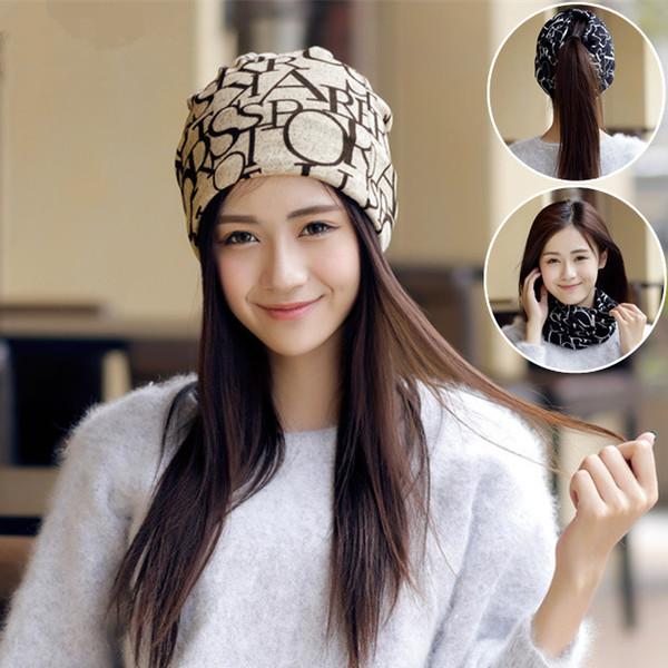 2017 New Women Letters Flag Printed Turban Beanies Hats Stylish Ponytail Caps Slouchy Chemo Bandana Hat