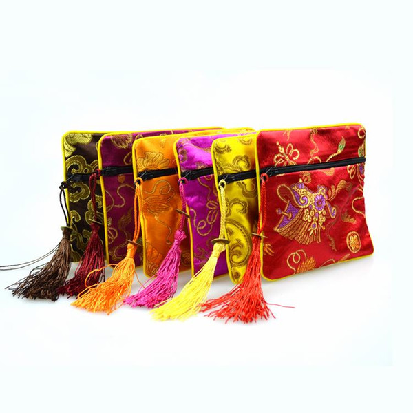 """best selling 50pcs 4 1 2"""" Square Chinese Silk Jewelry Display Packaging Pouch Zipper Wedding Party Favor Gift Bags"""