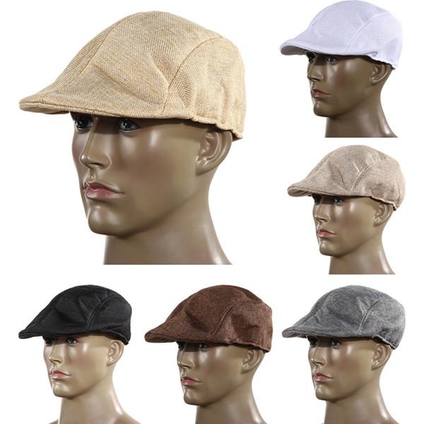 Al por mayor-Otoño e invierno de moda para hombre de la vendimia de la gorra plana de pico del sombrero de carreras Beret Country Golf Newsboy H1E1