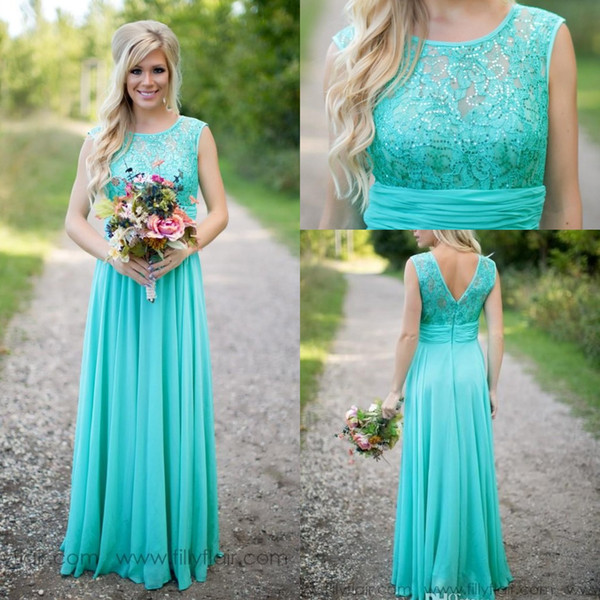 top popular Cheap Country Turquoise Mint Bridesmaid Dresses Illusion Neck Lace Beaded Top Chiffon Long Plus Size Maid of Honor Wedding Party Dress 2021