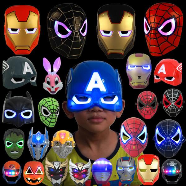 LED que brilla la máscara de los niños del superhéroe Spiderman Iron Man Hulk que la máscara de la película de dibujos animados del partido de Batman para el día del niño Cosplay