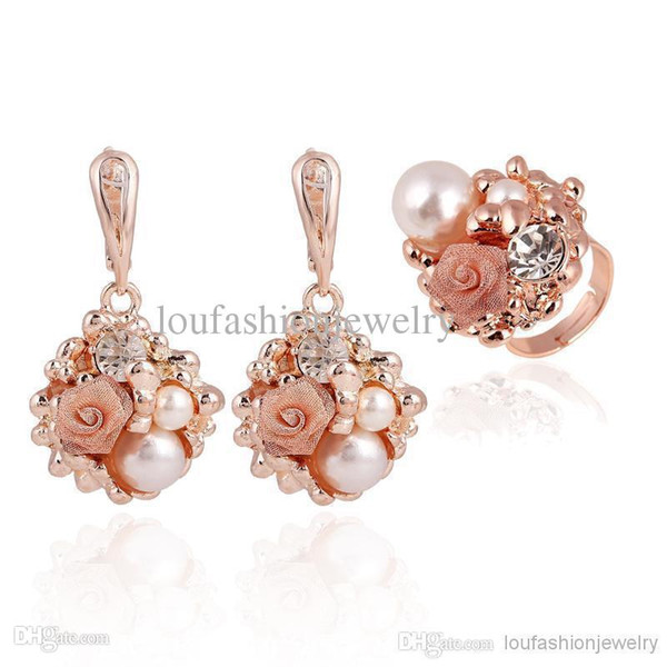 best selling Crystal Bridesmaid Jewelry Set Earrings For Women Fashion Jewelry 18K Gold Plated Pearls And Diamonds Setting Silver Plated Ring