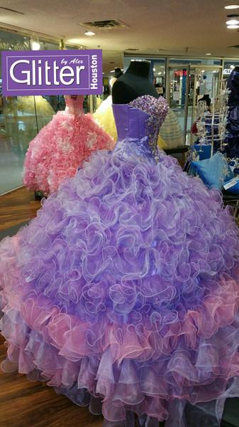 Işıltılı Renkli Kristal Quinceanera Modelleri Onaltı Abiye Elbise Organze Dantelli Vestidos 15 Ragazza Parti Balo Elbise Ücretsiz Kargo