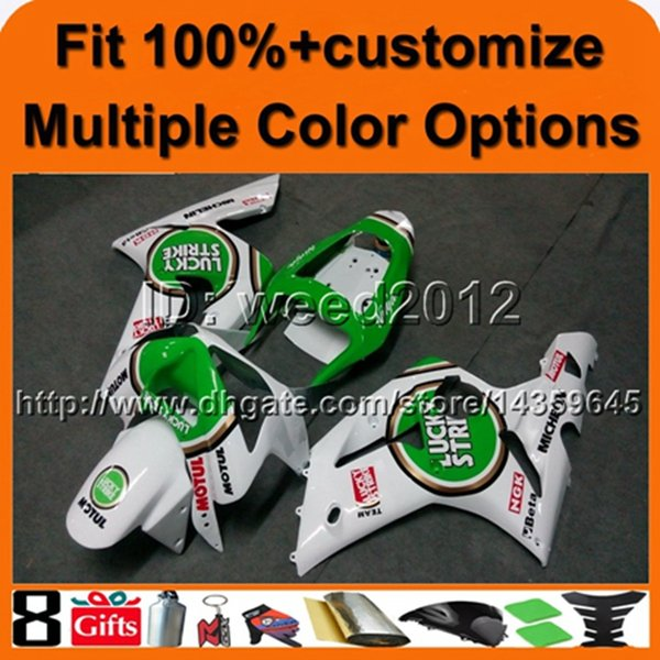 colors+8Gifts Injection mold green white bodywork motorcycle cowl for Kawasaki Ninja zx6r 03 04 ZX 6R 2003 2004 ABS Plastic Fairing