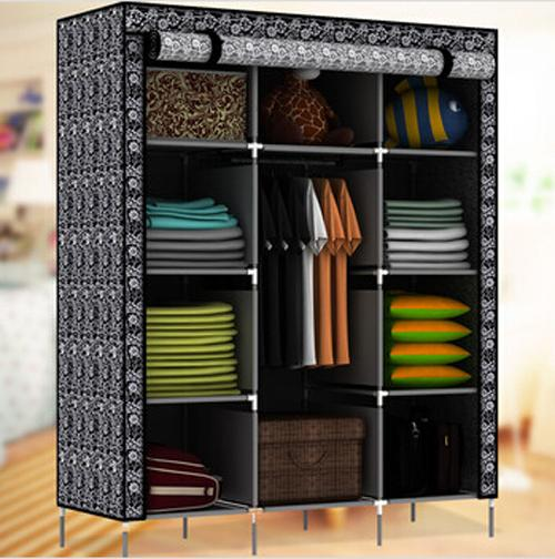 Free Shipping! New Large Portable Closet Storage Organizer Wardrobe Clothes Rack With Shelves