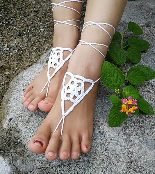 1 Pair OR 2 PCS Bridal Barefoot Sandals White crochet barefoot sandals Bridal Foot jewelry Beach wedding barefoot sandals sexy shoes
