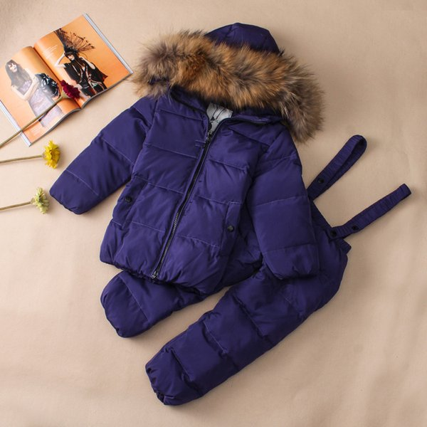 Kids Ski Suits Snow Suits For Girls Children Boys Snowsuit Down Cotton Jacket +Winter Overalls Child Winter Thicken Clothing