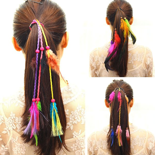 Bohemian Elastic Hair Bands Wind Color Girl Feather Headband New Hand Weaving Hair Accessories Hair Rope Gum Rubber Band