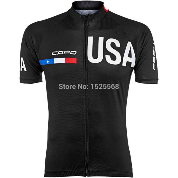 Toptan-2015 Capo Sınırlı Sayıda erkek ABD Forması kısa kollu bisiklet jersey 2015 capo takım bisiklet gömlek erkekler siyah