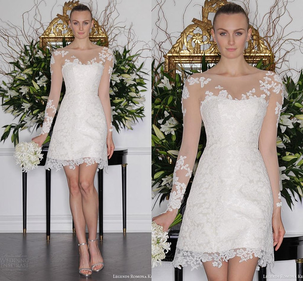 New Coming A Line Short Wedding Dresses 2019 Mini Transparent Scoop Full Sleeve Lace Formal Bridal Gowns Modern Appliques Best Quality Cheap